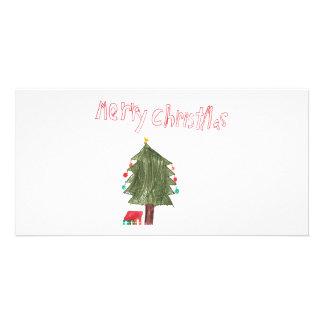 Merry Christmas Tree & Presents Customized Photo Card
