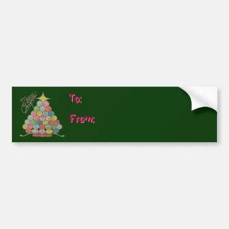 Merry Christmas Tree Quilt Panel Car Bumper Sticker