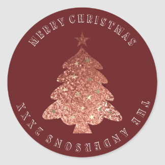 Merry Christmas Tree Rose Gold Burgundy Maroon Classic Round Sticker