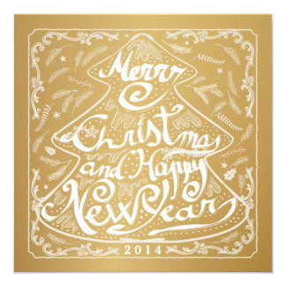 MERRY CHRISTMAS TREE SNOWFLAKE CHALKBOARD 5.25X5.25 SQUARE PAPER INVITATION CARD