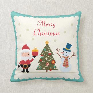 Merry Christmas Tree Snowman Santa Claus Cushion