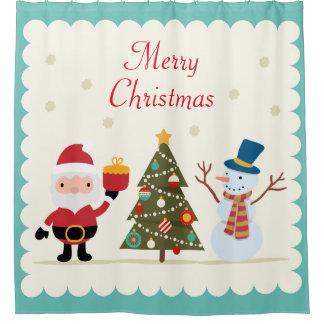 Merry Christmas Tree Snowman Santa Claus Shower Curtain