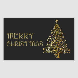 Merry Christmas Tree Stars Black Gold Shiny Chic Rectangular Sticker