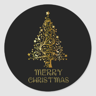 Merry Christmas Tree Stars Black Gold Shiny Chic Round Sticker