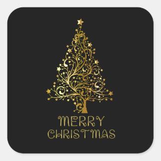 Merry Christmas Tree Stars Black Gold Shiny Chic Square Sticker
