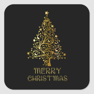 Merry Christmas Tree Stars Black Gold Shiny Chic Square Sticker
