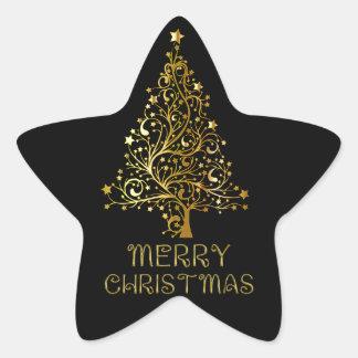 Merry Christmas Tree Stars Black Gold Shiny Chic Star Sticker