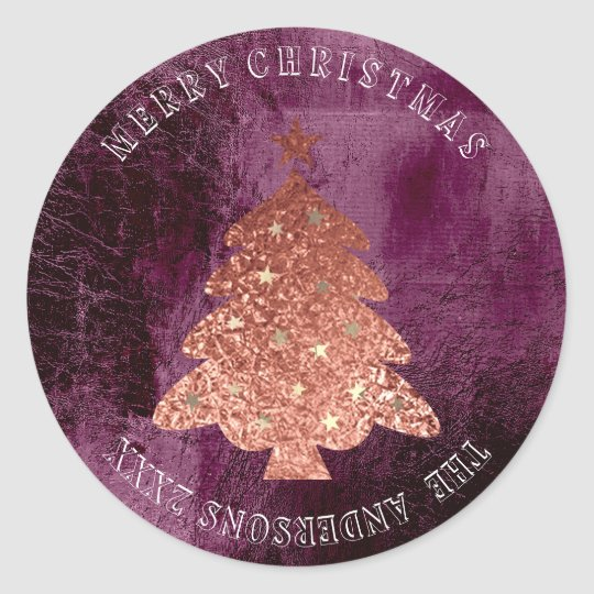 Merry Christmas Tree Stars Rose Gold Burgundy Red