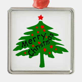 Merry Christmas tree stars vector art Premium Squa Silver-Colored Square Decoration