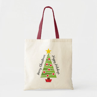 Merry christmas tree with decorations tote bag
