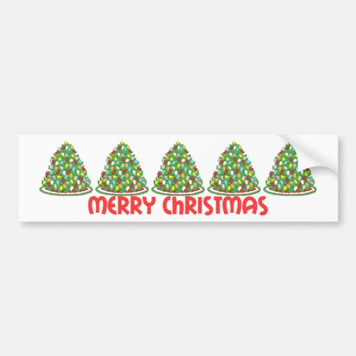 Merry Christmas Tree with Multicolor Bubble Lights Bumper Sticker