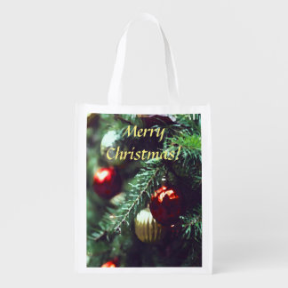 Merry Christmas Tree with Red Ornaments Reusable Grocery Bag