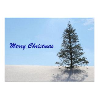 Merry Christmas Tree with Snow Invites