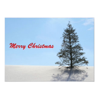 "Merry Christmas Tree with Snow 5"" X 7"" Invitation Card"