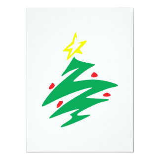 Merry Christmas Tree with Star Invitation