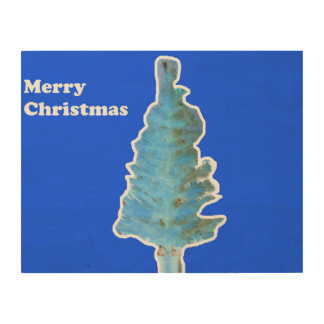 Merry Christmas Tree Wood Canvas