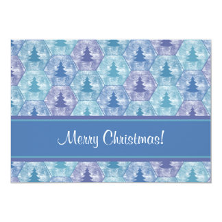 """Merry Christmas Trees Invite in Blue and Purple 5"""" X 7"""" Invitation Card"""