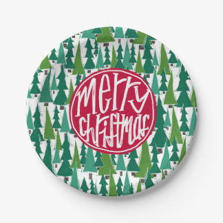 Merry Christmas trees Paper Plate