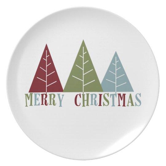 Merry Christmas Trees Plate
