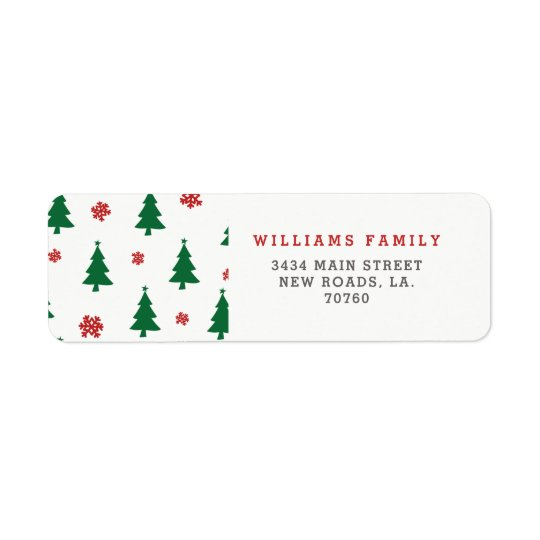 Merry Christmas Trees Return Address Label