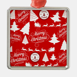 Merry Christmas Trees Santa Reindeer Holiday Christmas Ornament