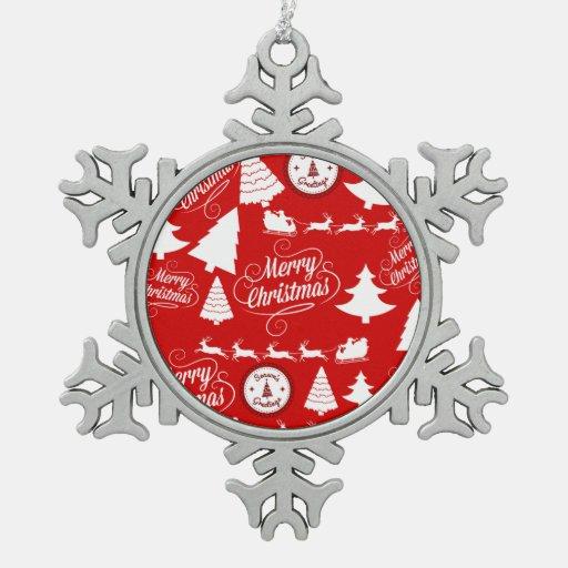 Merry Christmas Trees Santa Reindeer Holiday Ornament