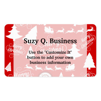 Merry Christmas Trees Santa Reindeer Holiday Pack Of Standard Business Cards