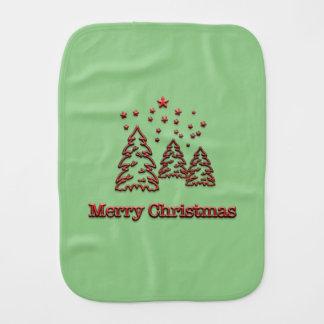 Merry Christmas Trees & Stars Baby Burp Cloth