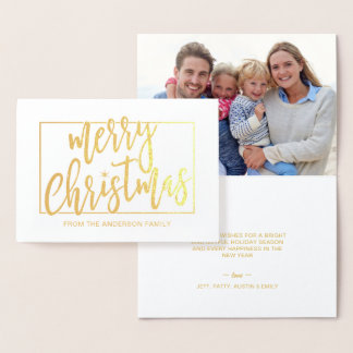 Merry Christmas Trendy Hand Lettered Script Gold Foil Card