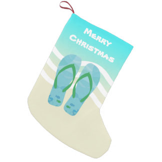 Merry Christmas Tropical Fish Beach Waves Sandals Small Christmas Stocking