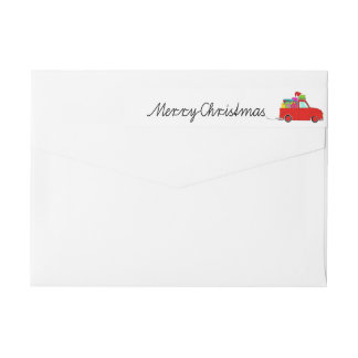 Merry Christmas Truck and gifts Christmas label