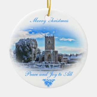 Merry Christmas {Trull Church in Snow} Christmas Ornament