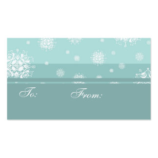 Merry Christmas Turquoise Snow Gift Tags Pack Of Standard Business Cards