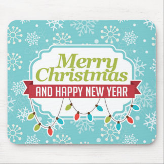 Merry Christmas; Turquoise Snowflakes Mouse Pad
