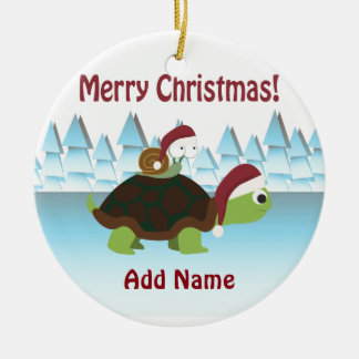 Merry Christmas! Turtle and Snail Christmas Ornament