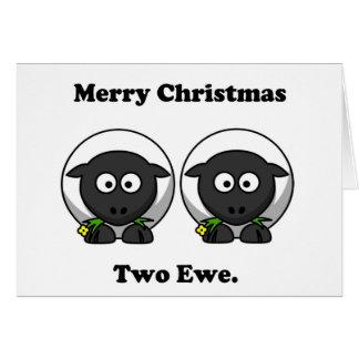Merry Christmas Two Ewe To You Cartoon Card