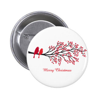 Merry Christmas, two red birds on winter tree 6 Cm Round Badge