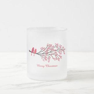 Merry Christmas, two red birds on winter tree Frosted Glass Coffee Mug
