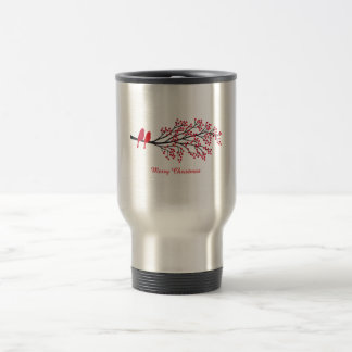 Merry Christmas, two red birds on winter tree Travel Mug