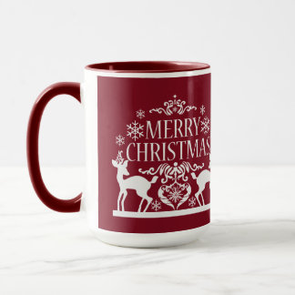 Merry Christmas Two Tone Mug-Deep Red Mug