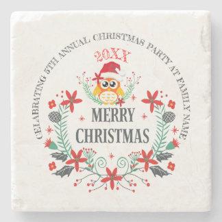Merry Christmas Typography & Christmas Owl Bouquet Stone Coaster