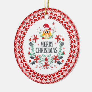 Merry Christmas Typography & Christmas Owl Wreath Christmas Ornament