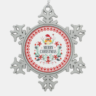 Merry Christmas Typography & Christmas Owl Wreath Snowflake Pewter Christmas Ornament