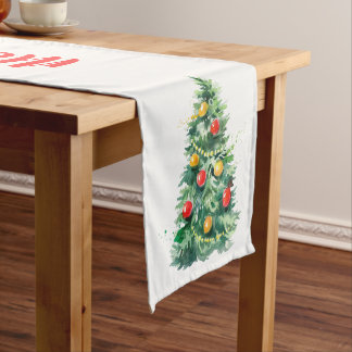 Merry Christmas Typography & Christmas Tree Medium Table Runner