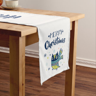 Merry Christmas Typography Cute Christmas Owl Medium Table Runner