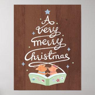 Merry Christmas Typography Cute Reindeers Poster