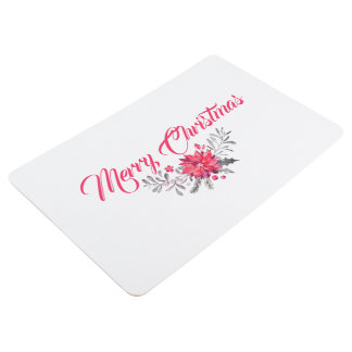 Merry Christmas Typography Floral Bouquet Floor Mat