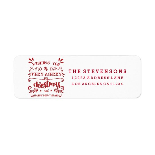 Merry Christmas Typography Holiday Address Labels