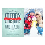 Merry Christmas Typography Holiday Photo Card 13 Cm X 18 Cm Invitation Card