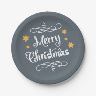 Merry Christmas Typography Light Slate Gray White Paper Plate